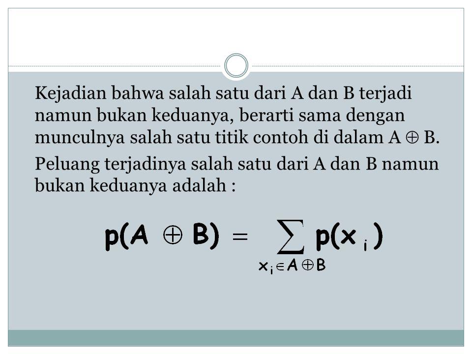 Kejadian bahwa salah satu dari A dan B terjadi namun bukan keduanya, berarti sama dengan munculnya salah satu titik contoh di dalam A  B. Peluang ter