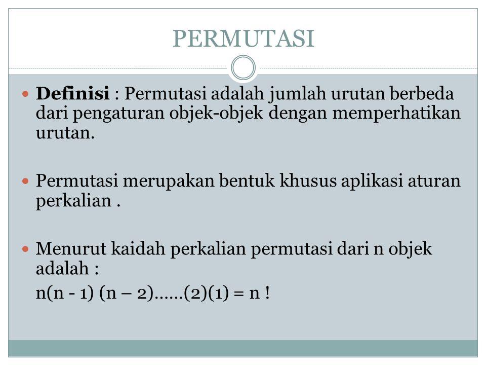 PERMUTASI-R Jumlah susunan berbeda dari pemilihan r objek yang diambil dari n objek disebut permutasi-r, dilambangkan dengan P(n,r), yaitu : Permutasi r dari n elemen adalah jumlah kemungkinan urutan r buah elemen yang dipilih dari n buah elemen, dengan r  n.
