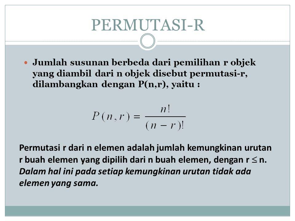 PERMUTASI-R Jumlah susunan berbeda dari pemilihan r objek yang diambil dari n objek disebut permutasi-r, dilambangkan dengan P(n,r), yaitu : Permutasi