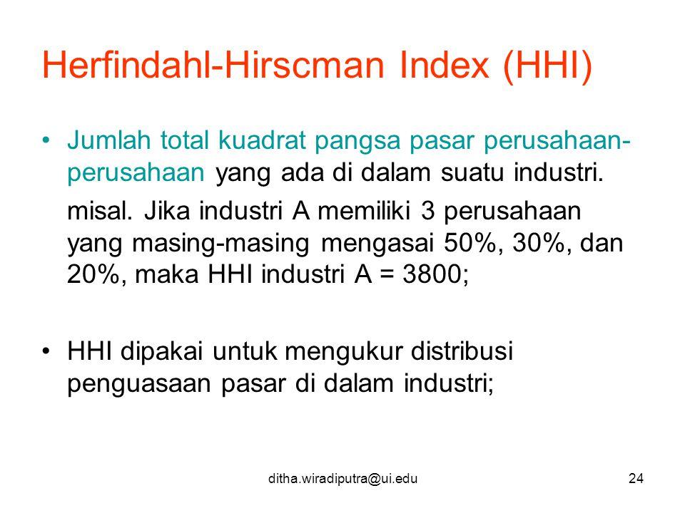ditha.wiradiputra@ui.edu24 Herfindahl-Hirscman Index (HHI) Jumlah total kuadrat pangsa pasar perusahaan- perusahaan yang ada di dalam suatu industri.
