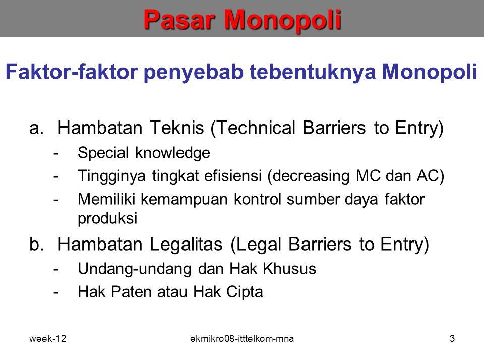 week-12ekmikro08-itttelkom-mna3 Faktor-faktor penyebab tebentuknya Monopoli a.Hambatan Teknis (Technical Barriers to Entry) -Special knowledge -Tingginya tingkat efisiensi (decreasing MC dan AC) -Memiliki kemampuan kontrol sumber daya faktor produksi b.Hambatan Legalitas (Legal Barriers to Entry) -Undang-undang dan Hak Khusus -Hak Paten atau Hak Cipta Pasar Monopoli