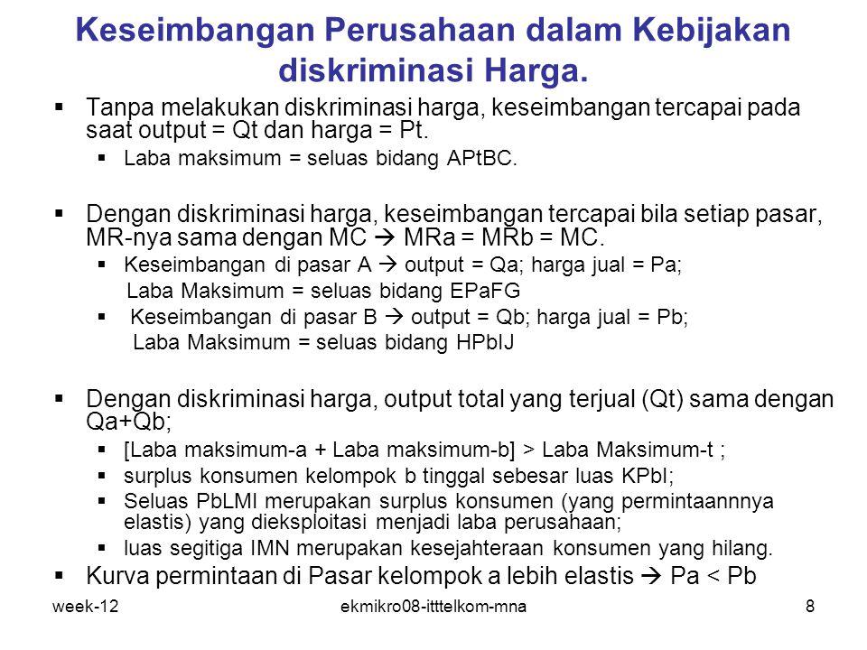 week-12ekmikro08-itttelkom-mna8 Keseimbangan Perusahaan dalam Kebijakan diskriminasi Harga.