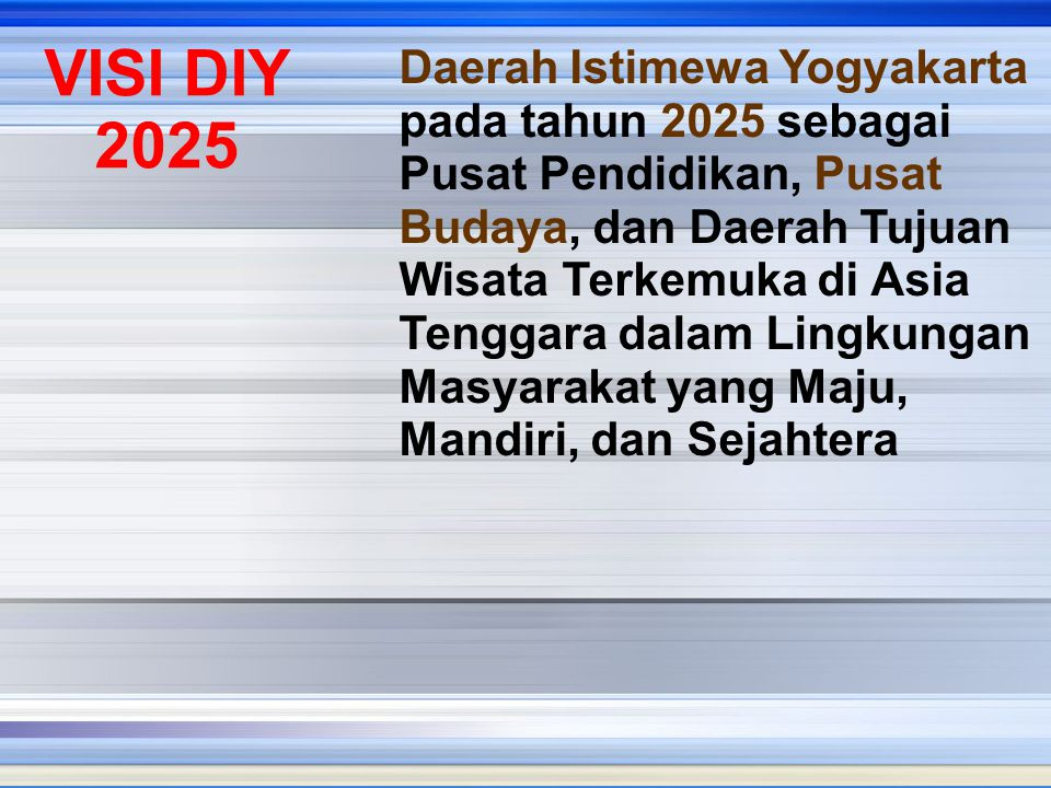 Daerah Istimewa Yogyakarta pada tahun 2025 sebagai Pusat Pendidikan, Pusat Budaya, dan Daerah Tujuan Wisata Terkemuka di Asia Tenggara dalam Lingkunga