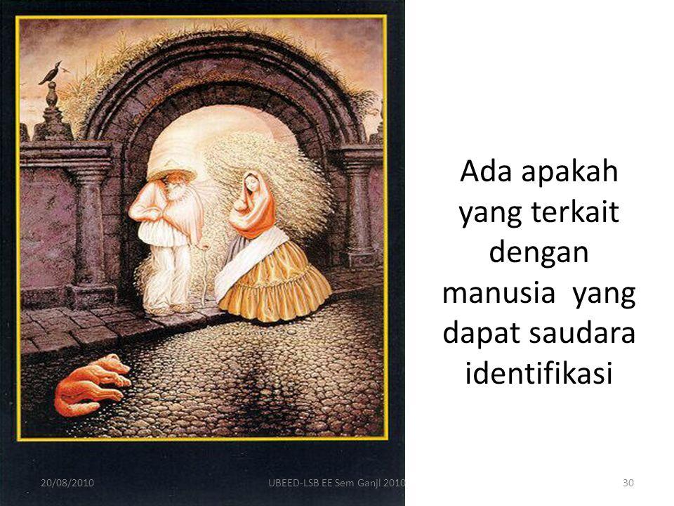 Ada apakah yang terkait dengan manusia yang dapat saudara identifikasi 20/08/201030UBEED-LSB EE Sem Ganjl 2010