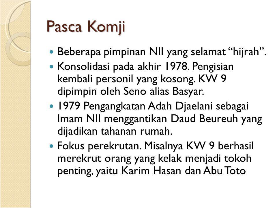 "Pasca Komji Beberapa pimpinan NII yang selamat ""hijrah"". Konsolidasi pada akhir 1978. Pengisian kembali personil yang kosong. KW 9 dipimpin oleh Seno"