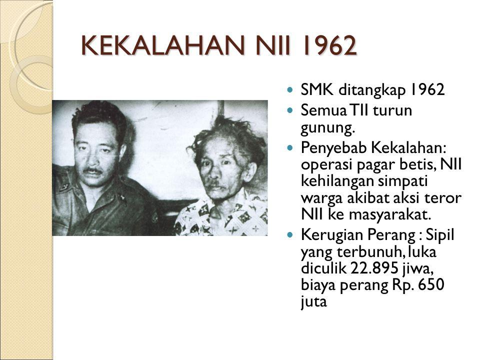 KEKALAHAN NII 1962 SMK ditangkap 1962 Semua TII turun gunung. Penyebab Kekalahan: operasi pagar betis, NII kehilangan simpati warga akibat aksi teror
