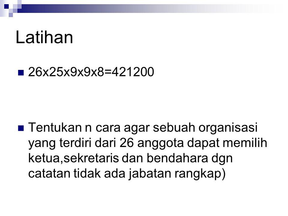 Latihan 26x25x9x9x8=421200 Tentukan n cara agar sebuah organisasi yang terdiri dari 26 anggota dapat memilih ketua,sekretaris dan bendahara dgn catata