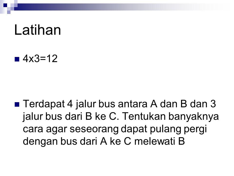 Latihan 4x3=12 Terdapat 4 jalur bus antara A dan B dan 3 jalur bus dari B ke C. Tentukan banyaknya cara agar seseorang dapat pulang pergi dengan bus d