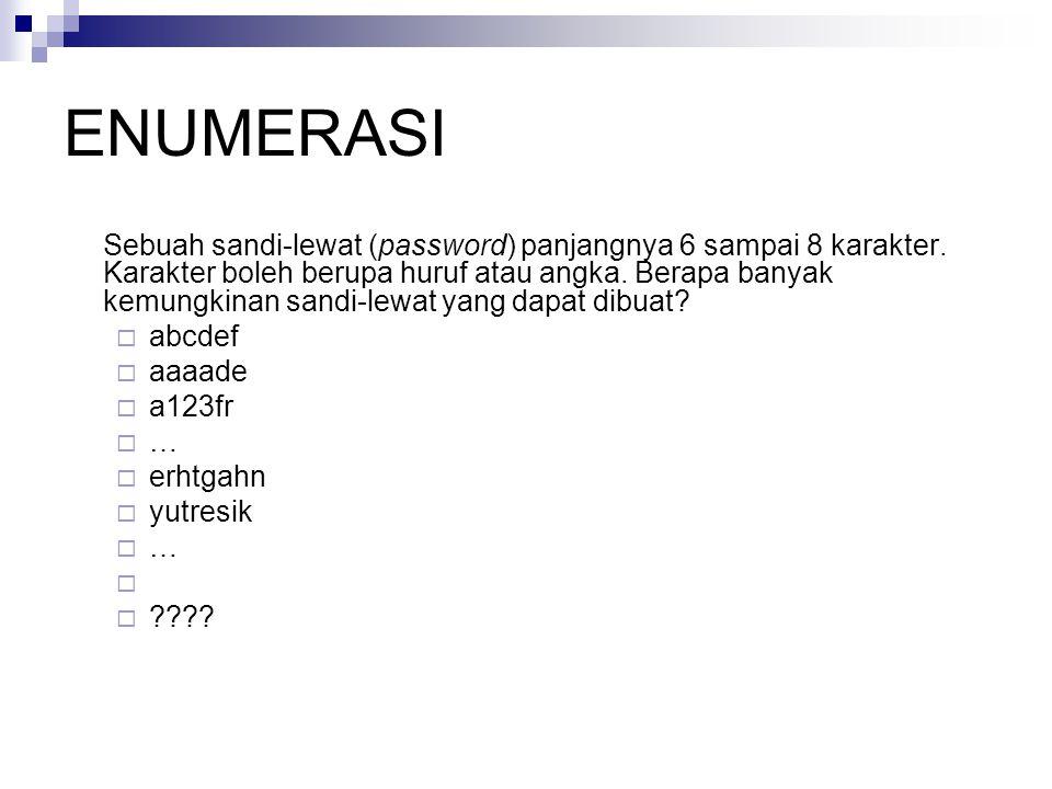 ENUMERASI Sebuah sandi-lewat (password) panjangnya 6 sampai 8 karakter. Karakter boleh berupa huruf atau angka. Berapa banyak kemungkinan sandi-lewat