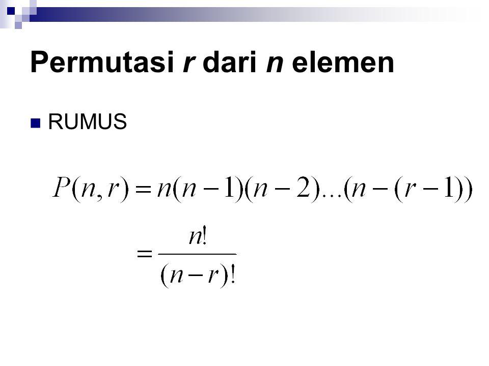 Permutasi r dari n elemen RUMUS