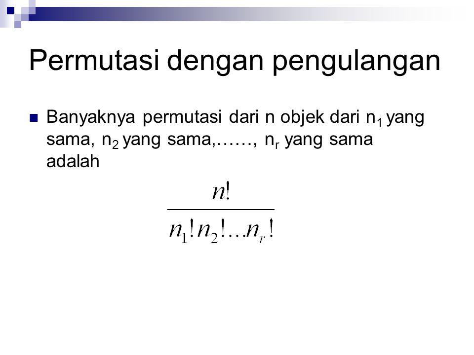 Permutasi dengan pengulangan Banyaknya permutasi dari n objek dari n 1 yang sama, n 2 yang sama,……, n r yang sama adalah