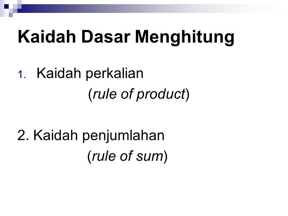 Kaidah Dasar Menghitung 1. Kaidah perkalian (rule of product) 2. Kaidah penjumlahan (rule of sum)