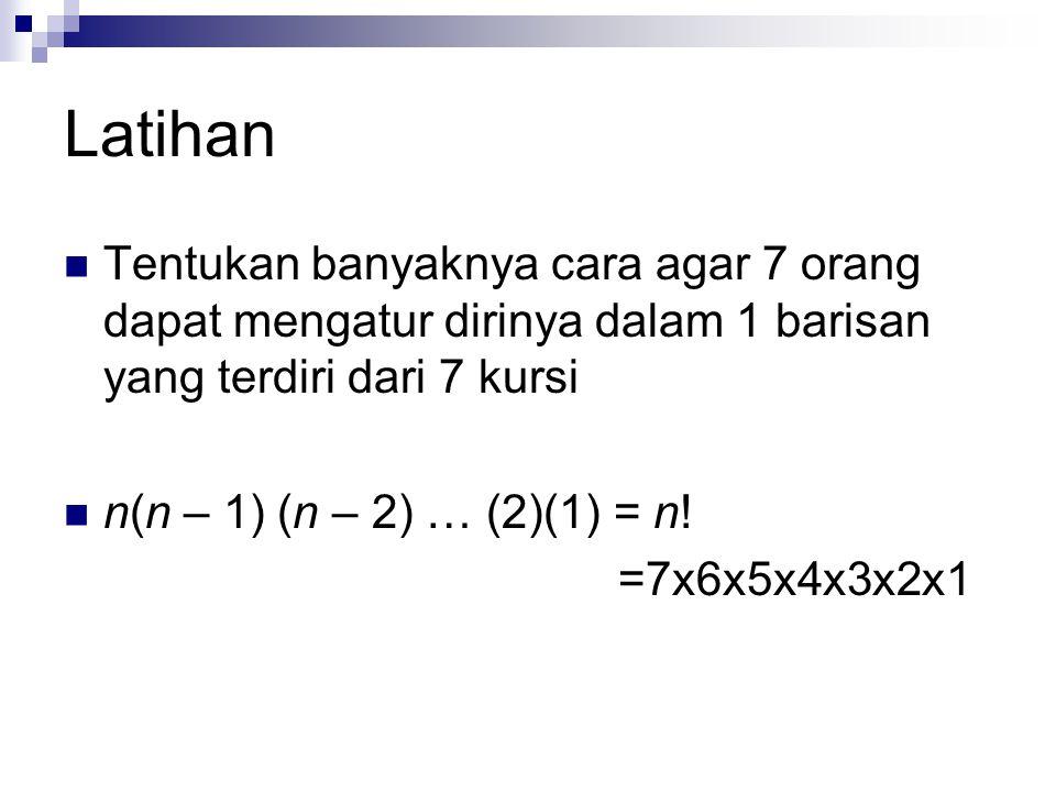Latihan Tentukan banyaknya cara agar 7 orang dapat mengatur dirinya dalam 1 barisan yang terdiri dari 7 kursi n(n – 1) (n – 2) … (2)(1) = n! =7x6x5x4x