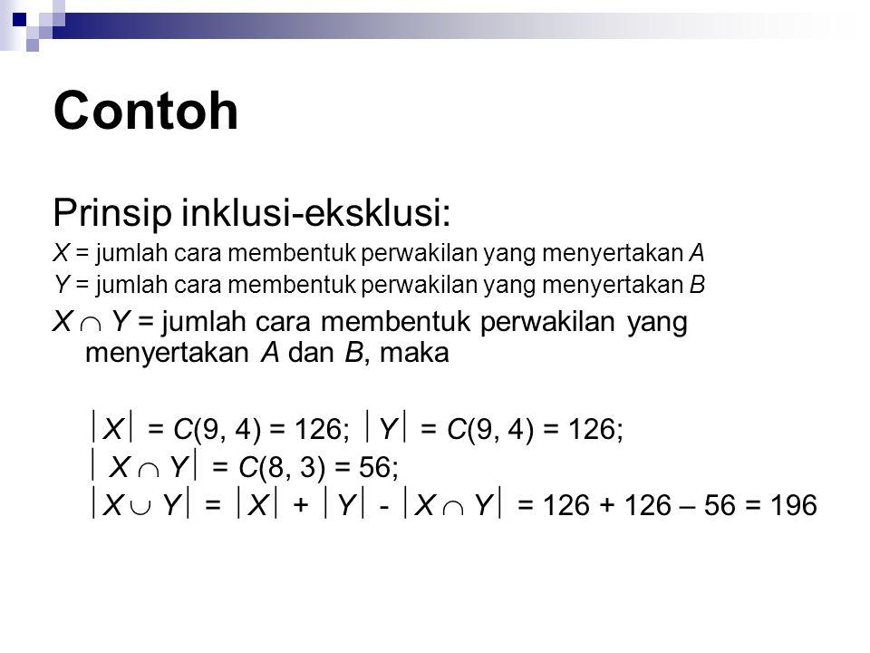 Contoh Prinsip inklusi-eksklusi: X = jumlah cara membentuk perwakilan yang menyertakan A Y = jumlah cara membentuk perwakilan yang menyertakan B X  Y