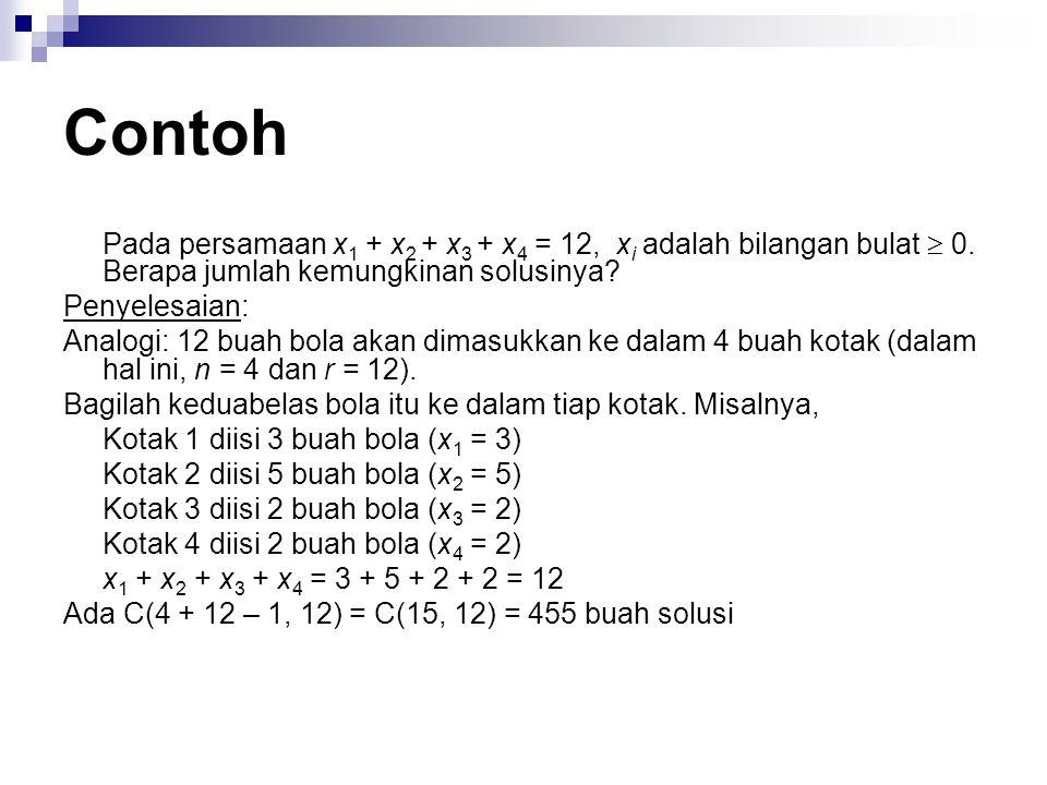 Contoh Pada persamaan x 1 + x 2 + x 3 + x 4 = 12, x i adalah bilangan bulat  0. Berapa jumlah kemungkinan solusinya? Penyelesaian: Analogi: 12 buah b