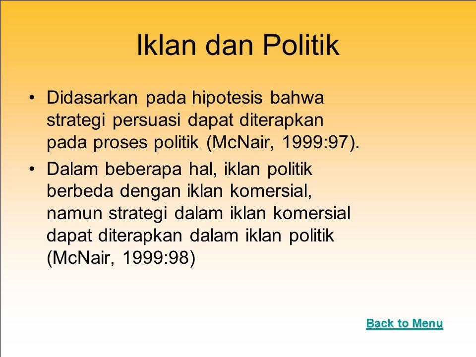 Iklan dan Politik Didasarkan pada hipotesis bahwa strategi persuasi dapat diterapkan pada proses politik (McNair, 1999:97).
