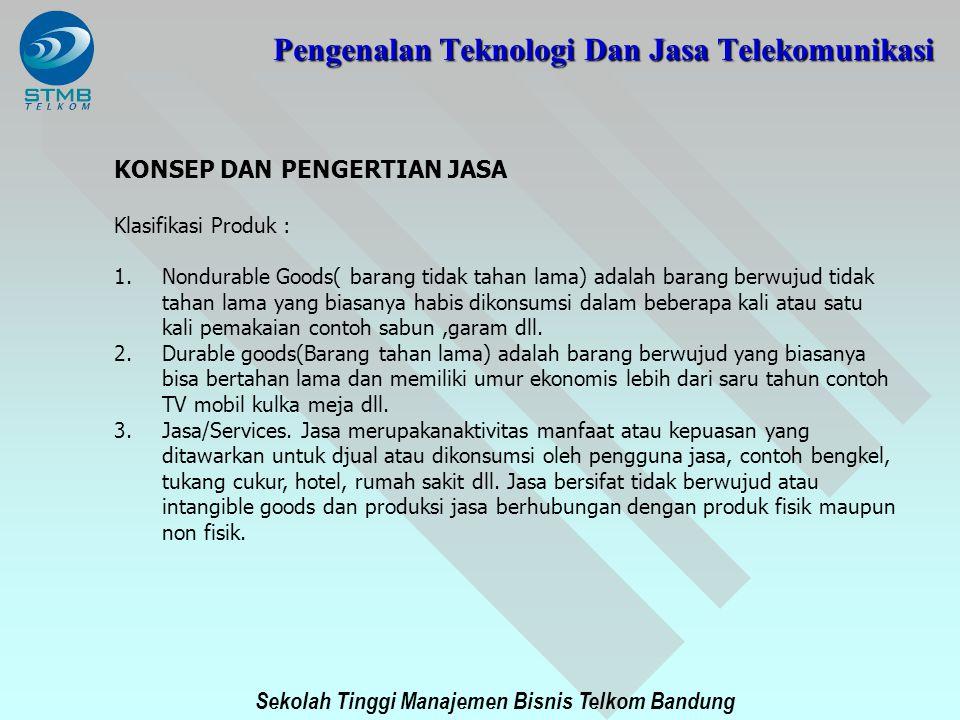 Sekolah Tinggi Manajemen Bisnis Telkom Bandung KONSEP DAN PENGERTIAN JASA Klasifikasi Produk : 1.Nondurable Goods( barang tidak tahan lama) adalah bar