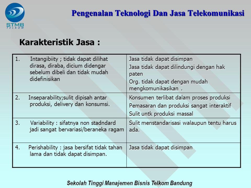 Sekolah Tinggi Manajemen Bisnis Telkom Bandung Karakteristik Jasa : 1. Intangibiity ; tidak dapat dilihat dirasa, diraba, dicium didengar sebelum dibe