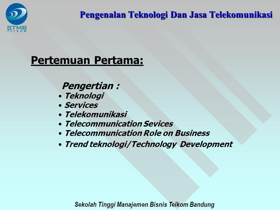 Sekolah Tinggi Manajemen Bisnis Telkom Bandung PENGENALAN TEKNOLOGI DAN JASA TELEKOMUNIKASI Service and Bearer of Service The Telephone Network Bearer Service : The Telephone Network Teleservice : Telephony Telephony