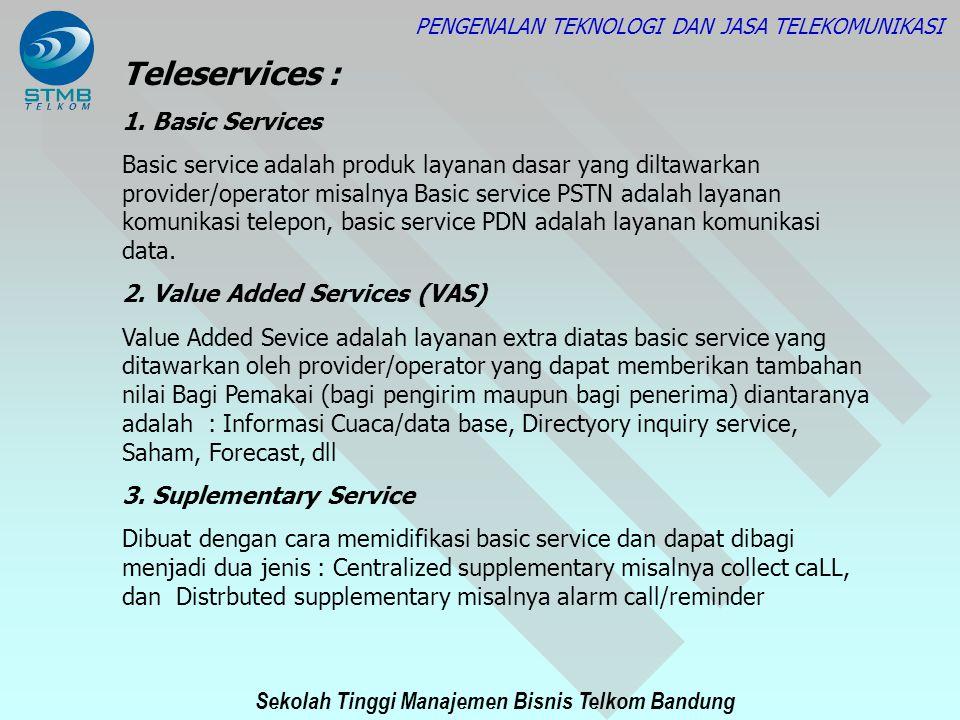 Sekolah Tinggi Manajemen Bisnis Telkom Bandung PENGENALAN TEKNOLOGI DAN JASA TELEKOMUNIKASI Teleservices : 1. Basic Services Basic service adalah prod