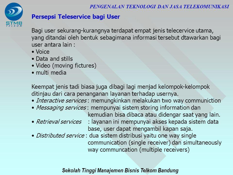 Sekolah Tinggi Manajemen Bisnis Telkom Bandung PENGENALAN TEKNOLOGI DAN JASA TELEKOMUNIKASI Persepsi Teleservice bagi User Bagi user sekurang-kurangny