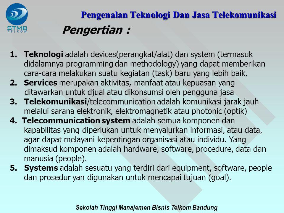 Sekolah Tinggi Manajemen Bisnis Telkom Bandung Pengertian : 1.Teknologi adalah devices(perangkat/alat) dan system (termasuk didalamnya programming dan