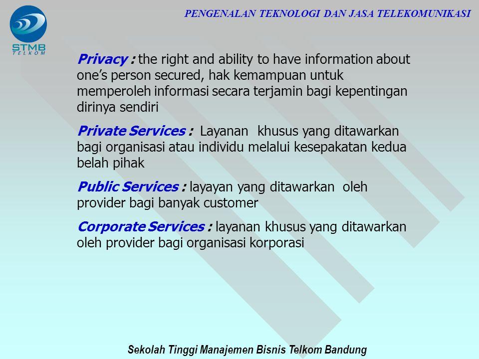 Sekolah Tinggi Manajemen Bisnis Telkom Bandung PENGENALAN TEKNOLOGI DAN JASA TELEKOMUNIKASI Privacy : the right and ability to have information about
