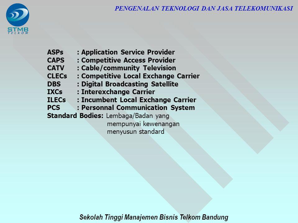 Sekolah Tinggi Manajemen Bisnis Telkom Bandung PENGENALAN TEKNOLOGI DAN JASA TELEKOMUNIKASI ASPs: Application Service Provider CAPS : Competitive Acce