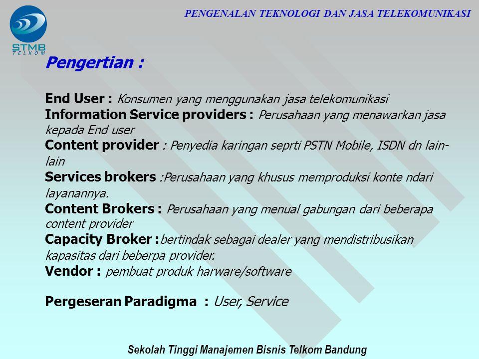 Sekolah Tinggi Manajemen Bisnis Telkom Bandung PENGENALAN TEKNOLOGI DAN JASA TELEKOMUNIKASI Pengertian : End User : Konsumen yang menggunakan jasa tel