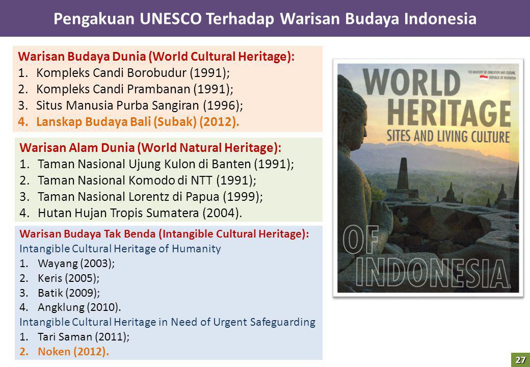 Pengakuan UNESCO Terhadap Warisan Budaya Indonesia Warisan Budaya Dunia (World Cultural Heritage): 1.Kompleks Candi Borobudur (1991); 2.Kompleks Candi Prambanan (1991); 3.Situs Manusia Purba Sangiran (1996); 4.Lanskap Budaya Bali (Subak) (2012).