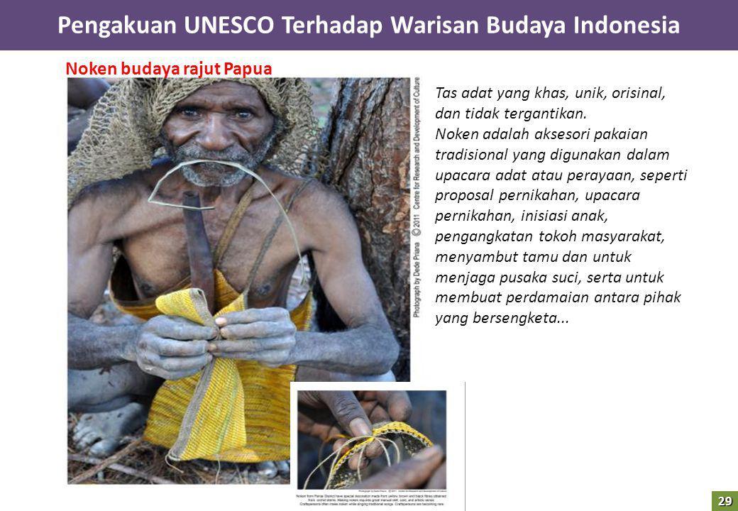 Noken budaya rajut Papua Tas adat yang khas, unik, orisinal, dan tidak tergantikan. Noken adalah aksesori pakaian tradisional yang digunakan dalam upa