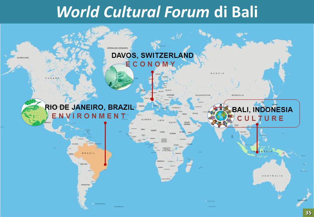 DAVOS, SWITZERLAND E C O N O M Y RIO DE JANEIRO, BRAZIL E N V I R O N M E N T BALI, INDONESIA C U L T U R E World Cultural Forum di Bali 35