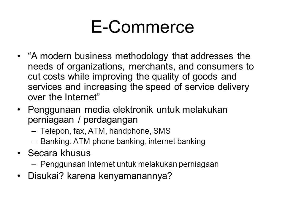 "E-Commerce ""A modern business methodology that addresses the needs of organizations, merchants, and consumers to cut costs while improving the quality"
