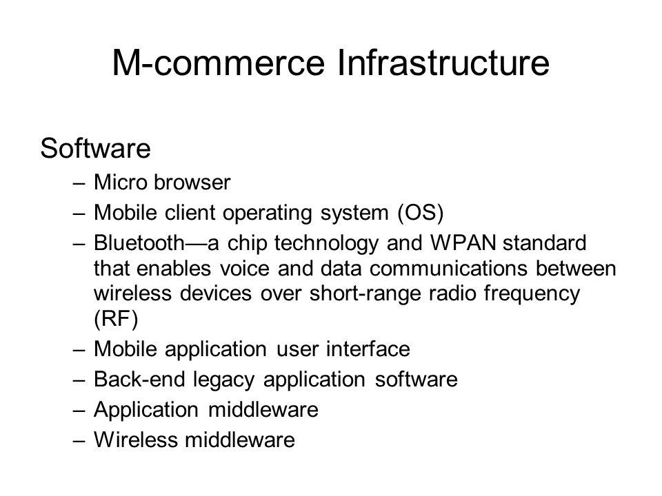 M-commerce Infrastructure Software –Micro browser –Mobile client operating system (OS) –Bluetooth—a chip technology and WPAN standard that enables voi