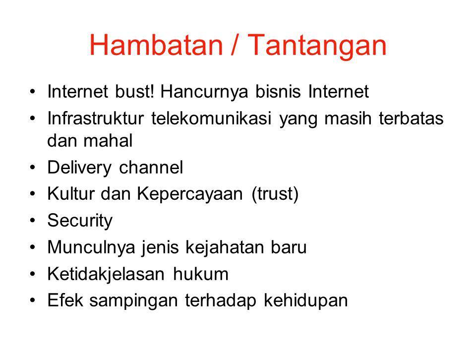 Hambatan / Tantangan Internet bust! Hancurnya bisnis Internet Infrastruktur telekomunikasi yang masih terbatas dan mahal Delivery channel Kultur dan K