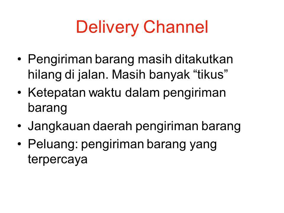 """Delivery Channel Pengiriman barang masih ditakutkan hilang di jalan. Masih banyak """"tikus"""" Ketepatan waktu dalam pengiriman barang Jangkauan daerah pen"""