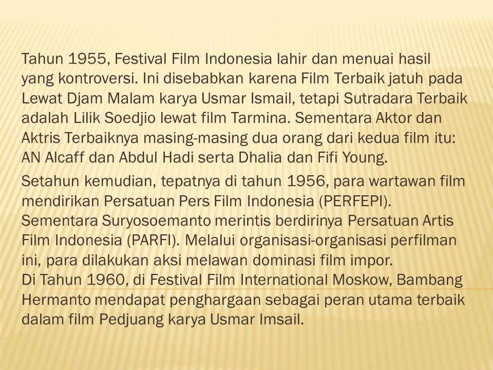 Tahun 1955, Festival Film Indonesia lahir dan menuai hasil yang kontroversi.