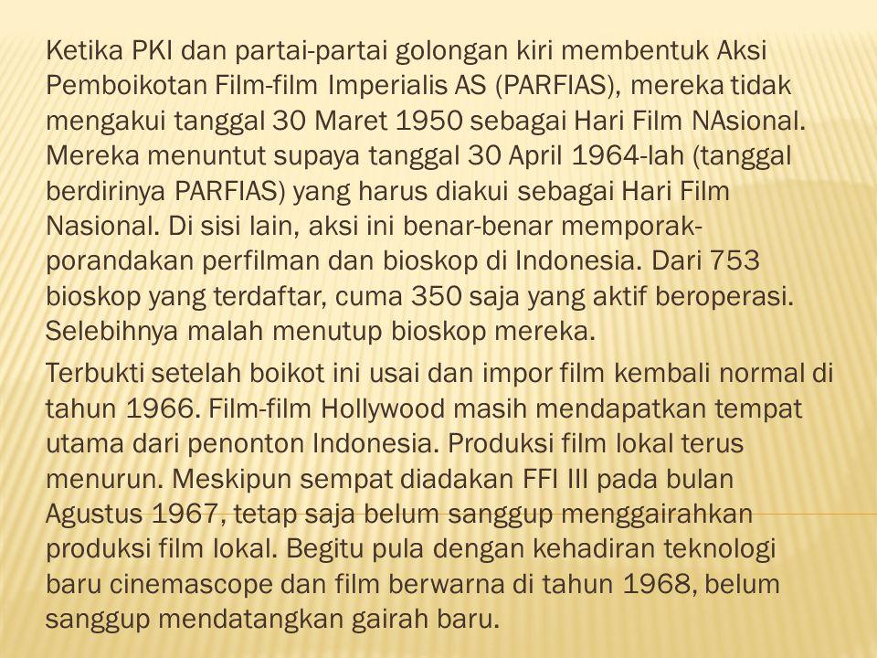 Ketika PKI dan partai-partai golongan kiri membentuk Aksi Pemboikotan Film-film Imperialis AS (PARFIAS), mereka tidak mengakui tanggal 30 Maret 1950 sebagai Hari Film NAsional.