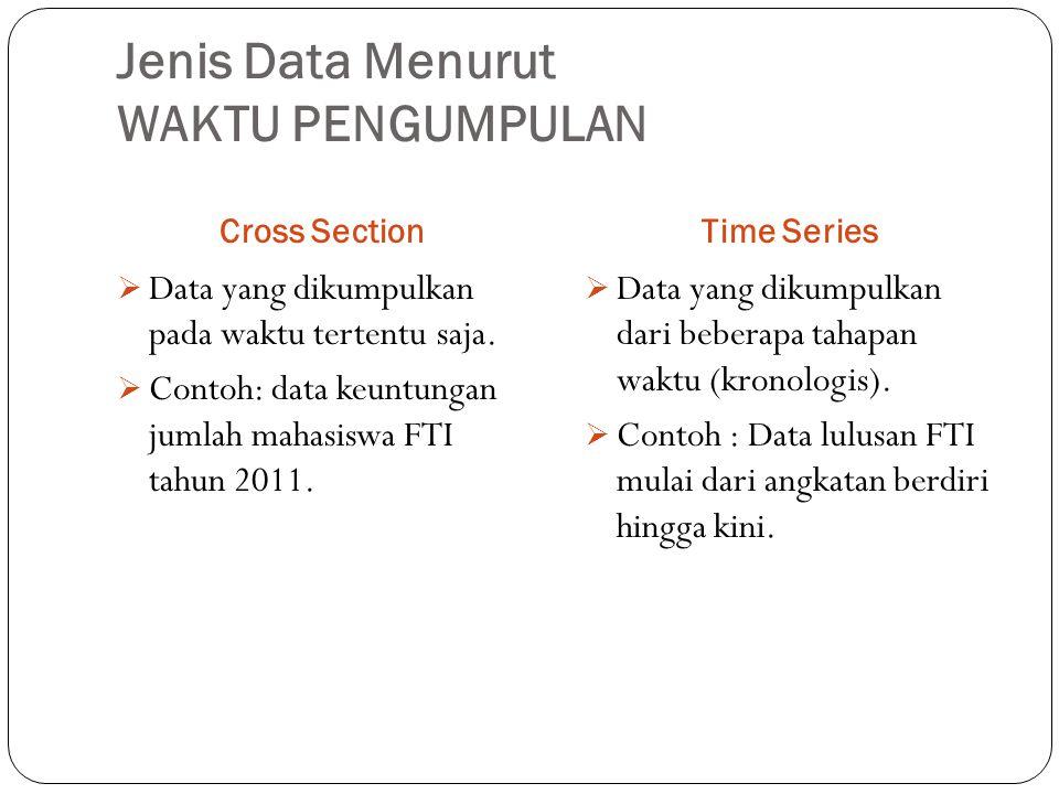 Jenis Data Menurut WAKTU PENGUMPULAN Cross SectionTime Series  Data yang dikumpulkan pada waktu tertentu saja.