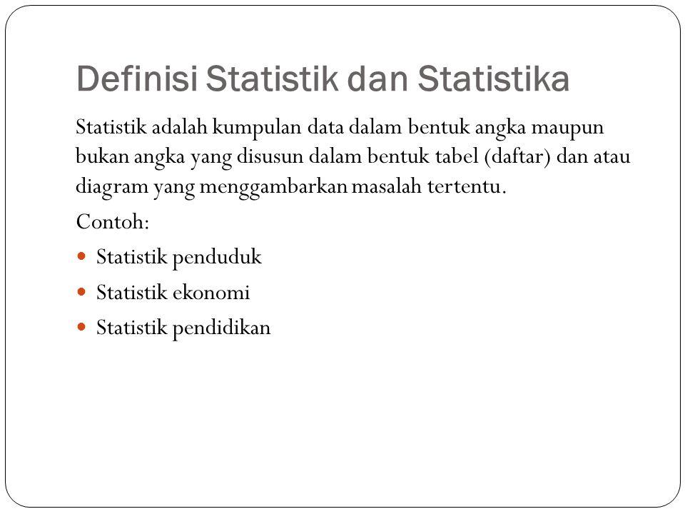 Definisi Statistik dan Statistika Statistika adalah ilmu yang mempelajari tentang statistik.