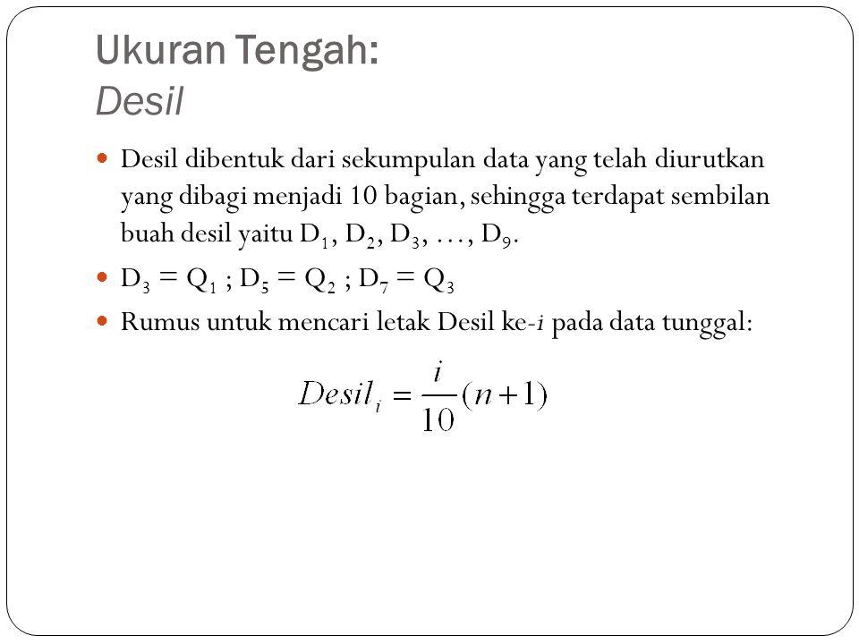 Ukuran Tengah: Desil Desil dibentuk dari sekumpulan data yang telah diurutkan yang dibagi menjadi 10 bagian, sehingga terdapat sembilan buah desil yaitu D 1, D 2, D 3, …, D 9.
