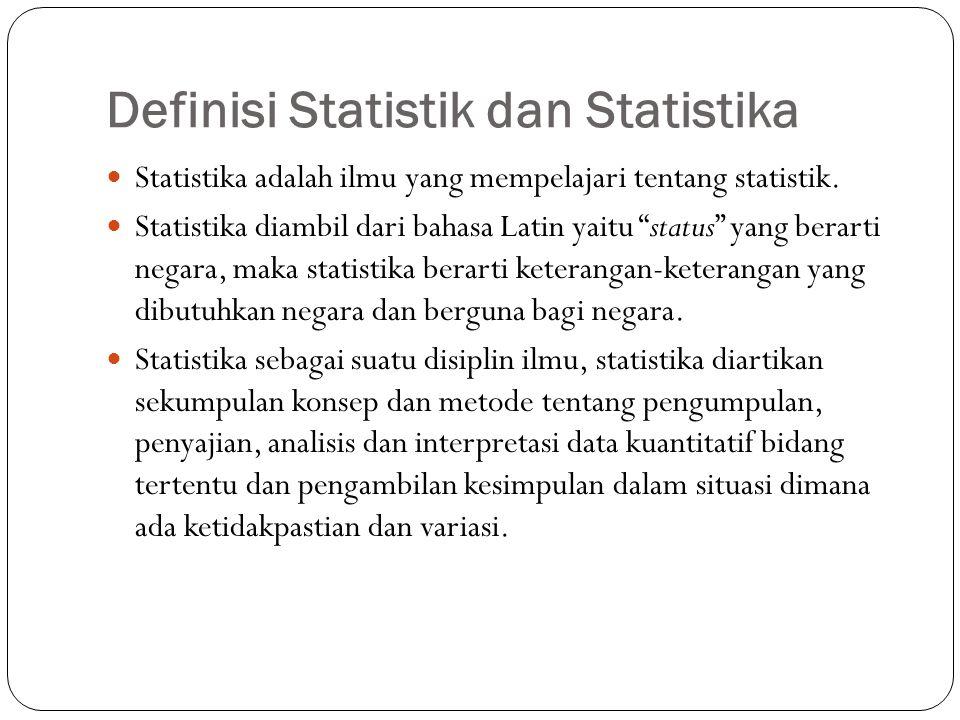 Penggolongan Statistika  Statistika deskriptif adalah metode-metode yang berkaitan dengan pengumpulan dan penyajian suatu gugus data sehingga memberikan informasi yang berguna.