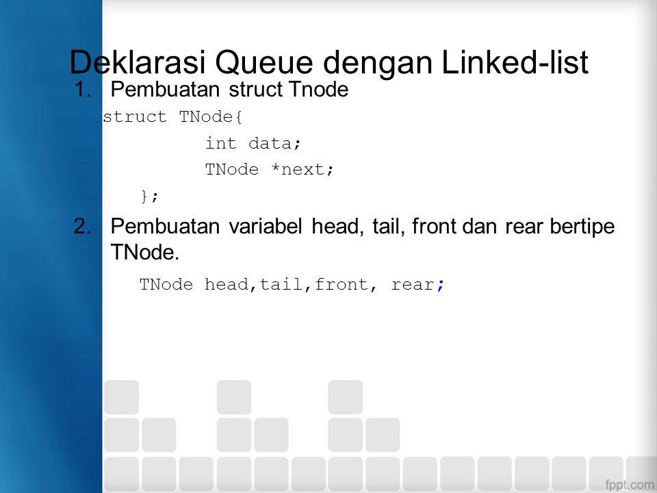 Deklarasi Queue dengan Linked-list 1.Pembuatan struct Tnode struct TNode{ int data; TNode *next; }; 2.Pembuatan variabel head, tail, front dan rear be