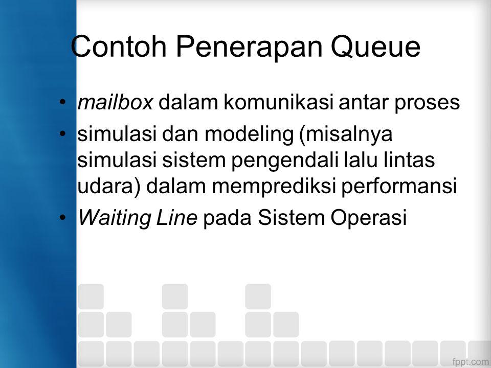 Contoh Penerapan Queue mailbox dalam komunikasi antar proses simulasi dan modeling (misalnya simulasi sistem pengendali lalu lintas udara) dalam mempr