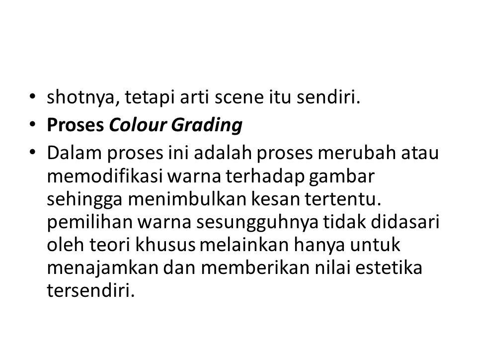 shotnya, tetapi arti scene itu sendiri. Proses Colour Grading Dalam proses ini adalah proses merubah atau memodifikasi warna terhadap gambar sehingga