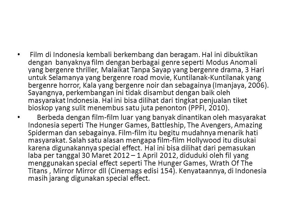 Film di Indonesia kembali berkembang dan beragam. Hal ini dibuktikan dengan banyaknya film dengan berbagai genre seperti Modus Anomali yang bergenre t