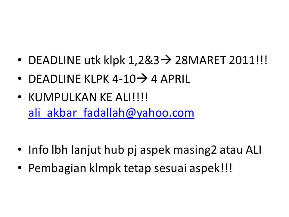 DEADLINE utk klpk 1,2&3  28MARET 2011!!. DEADLINE KLPK 4-10  4 APRIL KUMPULKAN KE ALI!!!.