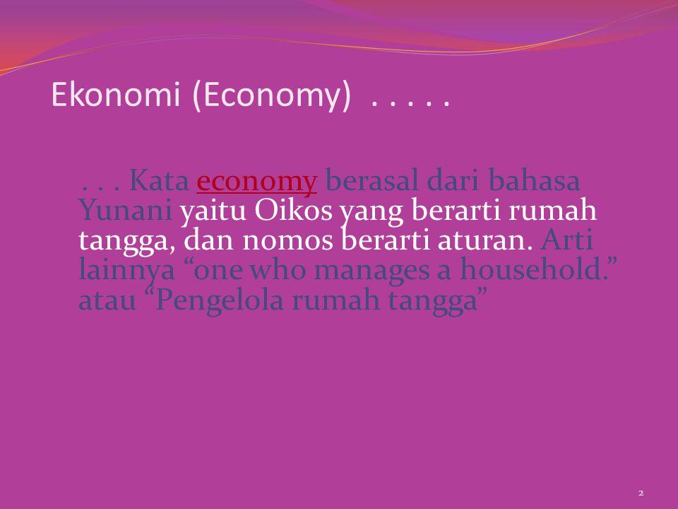 Rumah tangga dan ekonomi memiliki banyak kesamaan: u Barang apa dan berapa banyak produk yang akan dibuat.