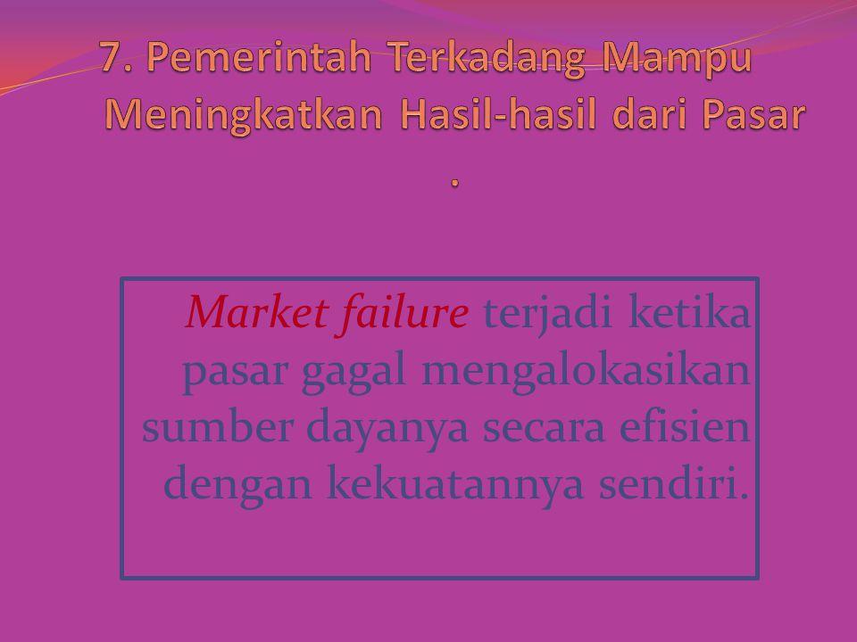 Market failure terjadi ketika pasar gagal mengalokasikan sumber dayanya secara efisien dengan kekuatannya sendiri.