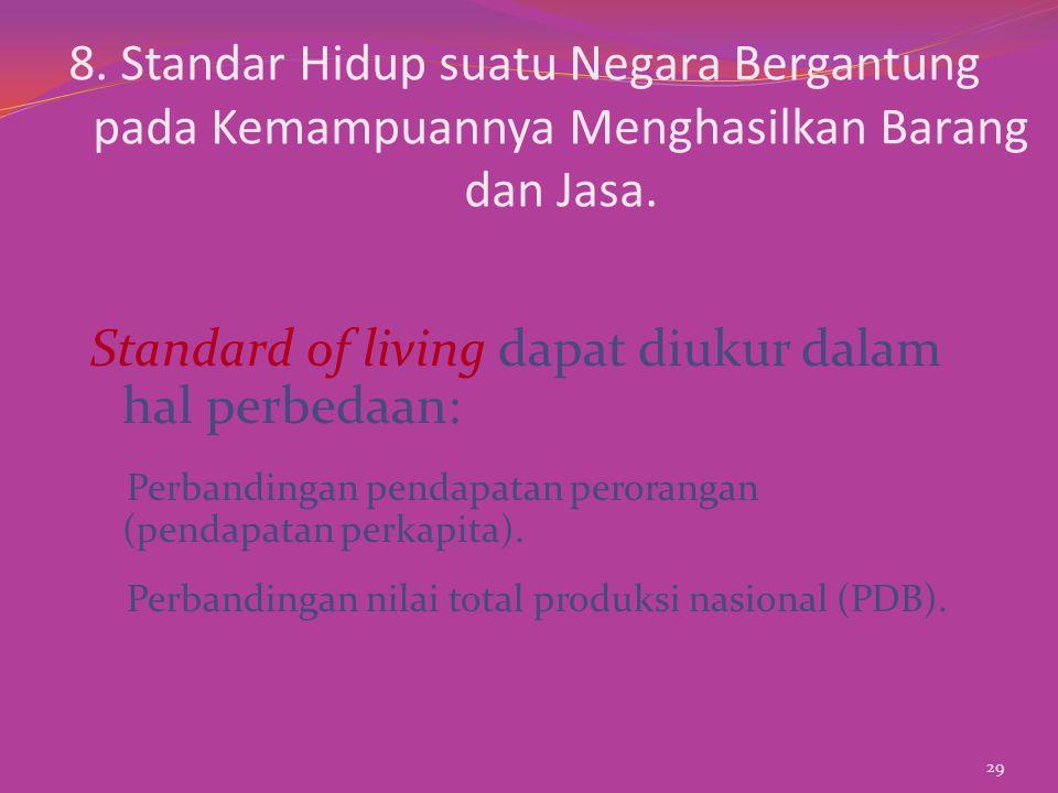 8.Standar Hidup suatu Negara Bergantung pada Kemampuannya Menghasilkan Barang dan Jasa.